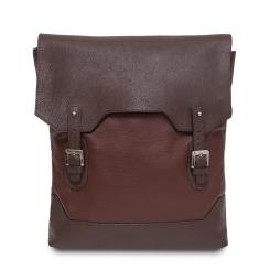 Стильный мужской рюкзак из плотной коричневой натуральной кожи от Hadley, арт. First Double Brown
