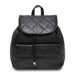 Черный женский рюкзак из стеганой натуральной кожи черного цвета от Hadley, арт. Biscuit Black