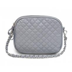 Роскошная женская сумка серого цвета из натуральной кожи с простежкой от Hadley, арт. Gray Candy
