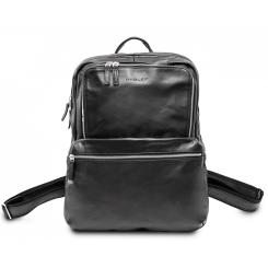 Городской мужской кожаный рюкзак черного цвета c двумя просторными отделами от Hadley, арт. Hatton Black