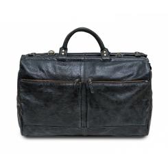 Вместительная черная мужская дорожная сумка из натуральной кожи от Hadley, арт. Portsmouth Smoky Black