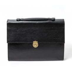 Черный мужской кожаный портфель в деловом стиле мягкой фактуры от Hadley, арт. Ross Black