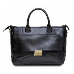 Мужская деловая сумка из натуральной кожи черного цвета с портфельной застежкой от Hadley, арт. Russel Black