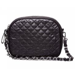 Изящная женская сумка черного цвета из простеганной мягкой натуральной кожи от Hadley, арт. Black Candy