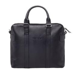 Большая мужская деловая сумка с одним отделением для ноутбука, из натуральной кожи от Lakestone, арт. Lichfield Black