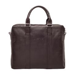 Стильная деловая мужская сумка из натуральной кожи коричневого цвета от Lakestone, арт. Lichfield Brown
