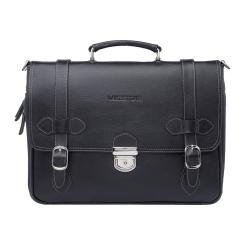 Черный мужской кожаный портфель с декоративными ремешками от Lakestone, арт. Belmont Black