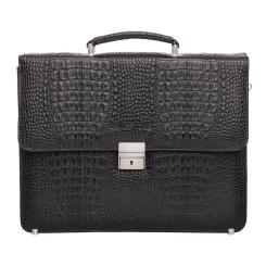 Роскошный мужской портфель из натуральной кожи, тисненной под каймана от Lakestone, арт. Braydon Black Caiman