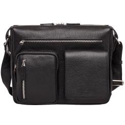 Черная мужская кожаная сумка через плечо с большими внешними карманами от Lakestone, арт. Clapton Black