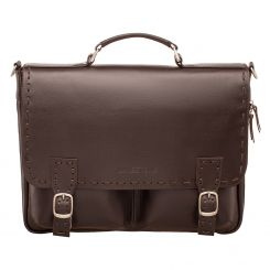 Мужской портфель из гладкой коричневой натуральной кожи со стильными ремешками от Lakestone, арт. Cooper Brown
