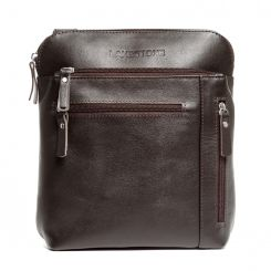Маленькая мужская кожаная сумка планшет с длинным плечевым ремнем от Lakestone, арт. Elm Brown