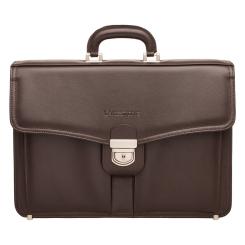 Вместительный мужской кожаный портфель с широким клапаном и замком от Lakestone, арт. Farington Brown