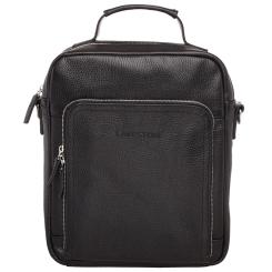 Черная мужская кожаная деловая сумка для документов формата А4 от Lakestone, арт. Garnet Black