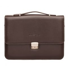 Коричневый мужской кожаный портфель с широким клапаном и сквозным замком от Lakestone, арт. Gordon Brown