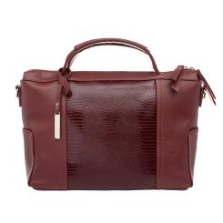 Стильная бордовая женская деловая сумка портфель из натуральной кожи от Lakestone, арт. Justice Burgundy