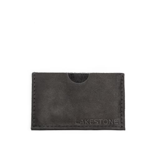 Компактная кожаная визитница черного цвета с удобными кармашками от Lakestone, арт. Gefle Black