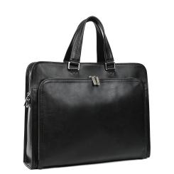 Большая мужская деловая сумка из натуральной кожи черного цвета от Leo Ventoni, арт. 03002465-Nero