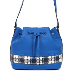 Молодежная синяя сумка из натуральной кожи с эффектной шнуровкой от Leo Ventoni, арт. 23004471-blue