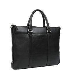 Большая мужская деловая сумка, выполнена из черной натуральной кожи от Leo Ventoni, арт. 03002469-Nero