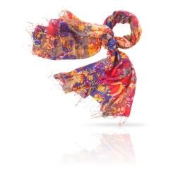 Женский палантин из натурального шелка с контрастным разноцветным узором от Michel Katana, арт. S30-DENSE.FLORAL/LILAC
