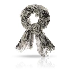 Женский палантин из натуральной шерсти бежевого и серого цвета от Michel Katana, арт. W-ARISTOTOL/PISTA