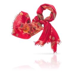 Ярко красный женский палантин из натуральной шерсти от Michel Katana, арт. W-BRUSH.FLOWER/MAROON