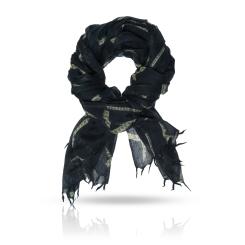 Женский палантин из натуральной шерсти насыщенного черного цвета от Michel Katana, арт. W-TAPE/BLACK