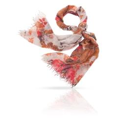 Женский палантин из натуральной шерсти бежевого, красного и коричневого цвета от Michel Katana, арт. ZW-JEWEL.FLOWER/SILVER