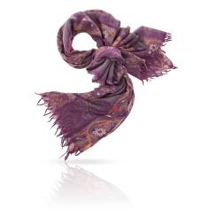 Стильный сиреневый женский палантин из натуральной шерсти от Michel Katana, арт. ZW-TRIBAL/DEEP.PURPLE