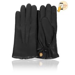Сенсорные мужские перчатки из натуральной кожи ягненка черного цвета от Michel Katana, арт. i.K100-BARUM/BL