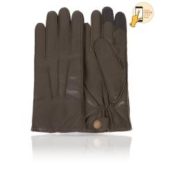 Сенсорные мужские перчатки из натуральной кожи ягненка оливкового цвета от Michel Katana, арт. i.K100-BARUM/OLIVE