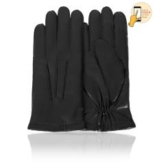 Сенсорные мужские перчатки из натуральной кожи ягненка черного цвета от Michel Katana, арт. i.K100-BERGER/BL