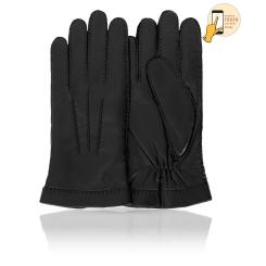 Сенсорные мужские перчатки из натуральной кожи ягненка черного цвета от Michel Katana, арт. i.K100-BROL/BL