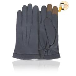 Мужские перчатки из натуральной кожи ягненка серого цвета от Michel Katana, арт. i.K100-BROL/PINE