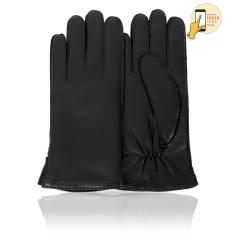 Классические женские перчатки из матовой натуральной кожи ягненка от Michel Katana, арт. i.K100-FRENCY/BL