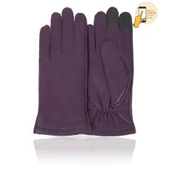 Классические женские перчатки из фиолетовой натуральной кожи ягненка от Michel Katana, арт. i.K100-FRENCY/PLUM