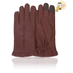 Сенсорные мужские перчатки из натуральной кожи ягненка красно коричневого цвета от Michel Katana, арт. i.K100-GODOT/AMAR