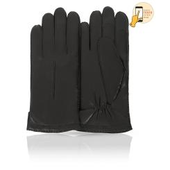 Сенсорные мужские перчатки из натуральной кожи ягненка черного цвета от Michel Katana, арт. i.K100-NANCY/BL