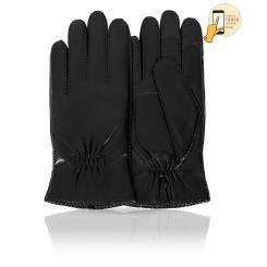 Сенсорные мужские перчатки из натуральной кожи ягненка черного цвета от Michel Katana, арт. i.K100-TORM/BL