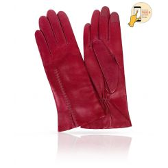 Стильные сенсорные перчатки из натуральной кожи ягненка винного оттенка от Michel Katana, арт. i.K11-ACILY/F.RED