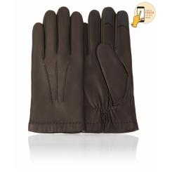 Сенсорные мужские перчатки из натуральной кожи ягненка черного цвета от Michel Katana, арт. i.K11-BRL/BL