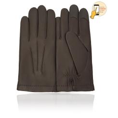 Сенсорные мужские перчатки из натуральной кожи ягненка темно коричневого цвета от Michel Katana, арт. i.K11-BRL/KAKY