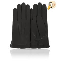 Сенсорные мужские перчатки из натуральной кожи ягненка черного цвета от Michel Katana, арт. i.K11-BROL/BL