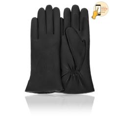 Сенсорные женские кожаные перчатки, классическая модель черного цвета от Michel Katana, арт. i.K11-COUERE/BL