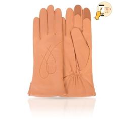 Модные сенсорные перчатки персикового цвета из натуральной кожи ягненка от Michel Katana, арт. i.K11-COUERE/CORN
