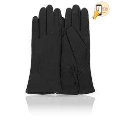 Сенсорные женские кожаные перчатки, классическая модель черного цвета от Michel Katana, арт. i.K11-EGILE/BL