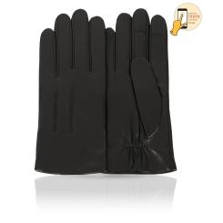 Сенсорные мужские перчатки из натуральной кожи ягненка черного цвета от Michel Katana, арт. i.K11-ERES/BL