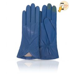 Элегантные сенсорные перчатки из натуральной кожи ягненка, цвета морской волны от Michel Katana, арт. i.K11-ETNICHE/BLUE