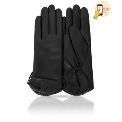 Сенсорные женские кожаные перчатки, классическая модель черного цвета от Michel Katana, арт. i.K11-ETOILE/NOIR
