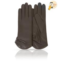 Сенсорные перчатки темно-оливкового цвета, из натуральной кожи ягненка от Michel Katana, арт. i.K11-ETOILE/OLIVE